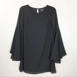 Lulus Black Bell Sleeves Shift Dress  XS